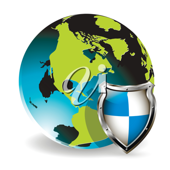 Royalty Free Clipart Image of a Globe and Shield