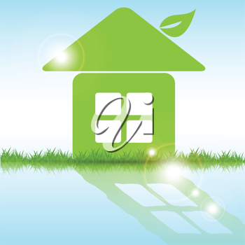 Royalty Free Clipart Image of a Green House