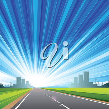 Royalty Free Clipart Image of a Highway