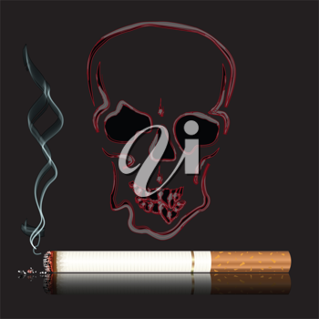 Royalty Free Clipart Image of a Cigarette and Skull