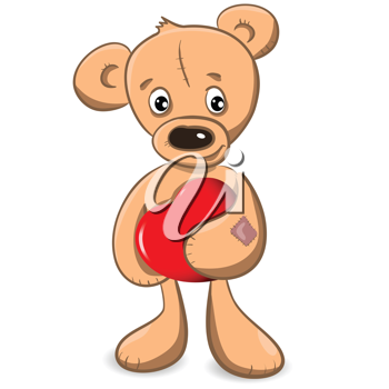 Royalty Free Clipart Image of a Bear Holding a Heart