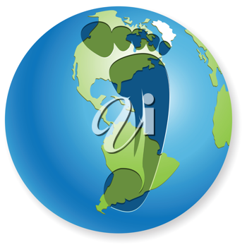 Royalty Free Clipart Image of a Footprint on a Globe