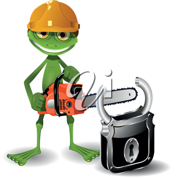 Green frog in a helmet with a chainsaw and padlock