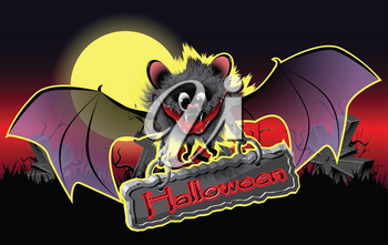 Royalty Free Clipart Image of a Bat Holding a Halloween Sign