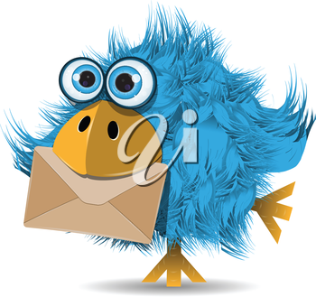 Royalty Free Clipart Image of a Funny Bird With an Envelope