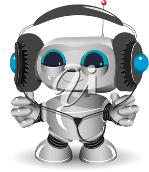 Illustration of a White robot listen to anything