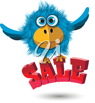 Illustration of a Blue Bird with the inscription sale