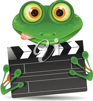 Illustration green frog with a movie clapper
