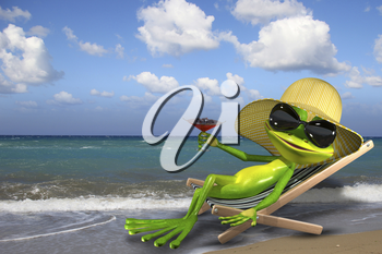 Illustration of a green frog in a deckchair on the beach