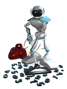 3D Illustration of a White Robot with a Vacuum Cleaner