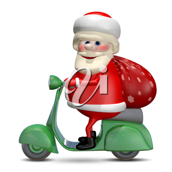 3D Illustration of Santa Claus on a Green Motor Scooter