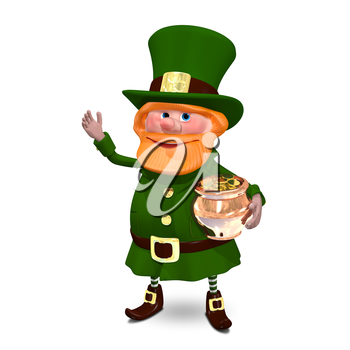 3D Illustration of Saint Patrick Keeps Pot of Gold Coins