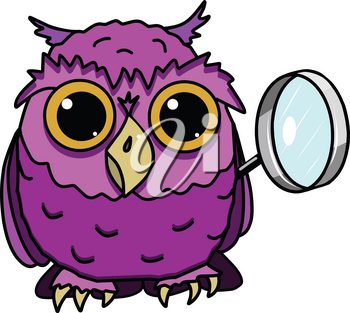 Illustration of Owl with Magnifier on a White Background