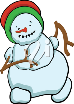Stock Illustration Running Snowman on a White Background