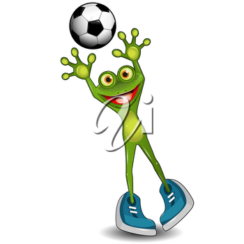 Illustration Green Frog Goalkeeper with a Soccer Ball