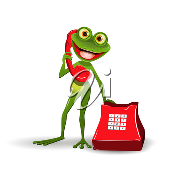 Illustration a Green Frog with Red Phone