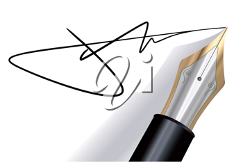 Royalty Free Clipart Image of Signing With a Fountain Pen
