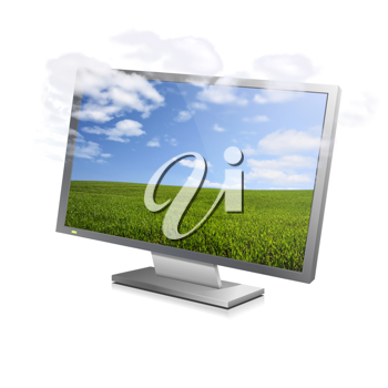 Clouds vanishing from a landscape displayed on a computer monitor