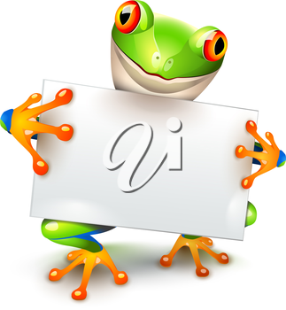 Little tree frog holding a white card for a message