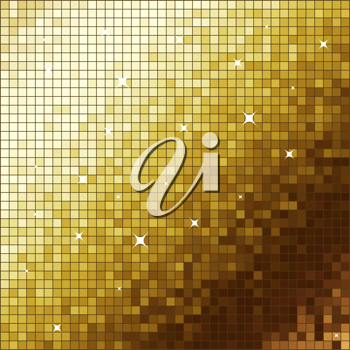 Royalty Free Clipart Image of a Golden Mosaic Background
