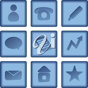 Royalty Free Clipart Image of a Set of Blue Business Icons