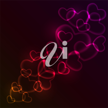 Royalty Free Clipart Image of an Abstract Hearts Background