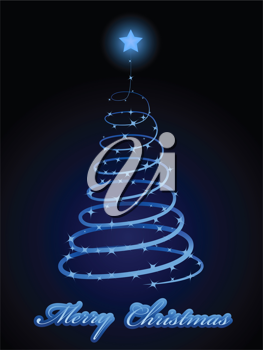 Royalty Free Clipart Image of a Sparkling Christmas Tree Card