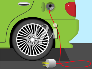 Royalty Free Clipart Image of an Electric Car