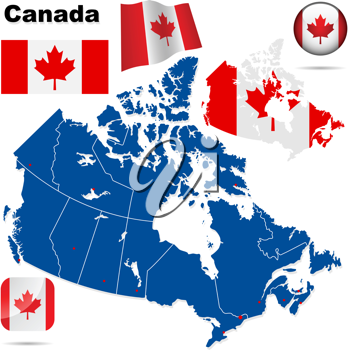 Royalty Free Clipart Image of Canadian Flags and Maps