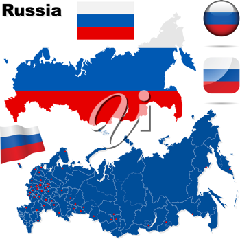 Royalty Free Clipart Image of a Flag and Map of Russia