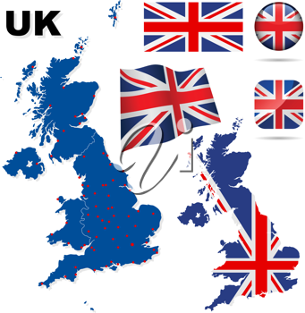 Royalty Free Clipart Image of a Map and Flags of the United Kingdom