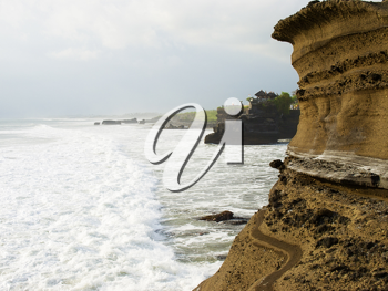 View on ocean coast cliffs at Tanah Lot area, Bali, Indonesia