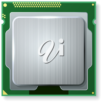 Modern computer core processing unit (CPU) isolated on white background.