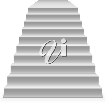 White steps to pedestal vector template isolated on white background.