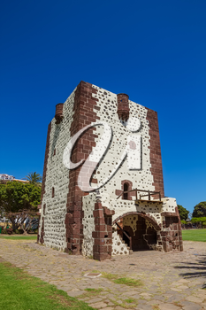Tower Torre Del Conde (The Count's Tower) In San Sebastian at La Gomera Island, Canary islands, Spain. The oldest military fort in the Canaries built in 1450 and Christopher Columbus' last port of cal