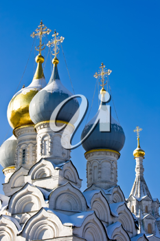 Royalty Free Photo of Orthodox Church Domes and Golden Crosses in Moscow