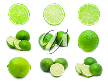 Collection of fresh green limes isolated on white background