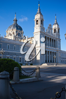 Beautiful view of famous Almudena Cathedral, Madrid, Spain
