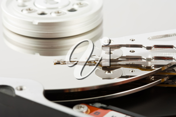 Royalty Free Photo of a Closeup of the Platters and Head of a Opened Computer Hard Drive