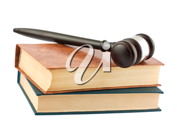 Royalty Free Photo of a Pile of Hardcover Books and a Wooden Gavel