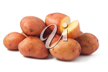 Royalty Free Photo of a Heap of Potatoes One Cut Open