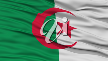 Closeup Algeria Flag, Waving in the Wind, High Resolution