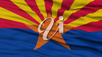 Closeup Arizona Flag on Flagpole, USA state, Waving in the Wind, High Resolution