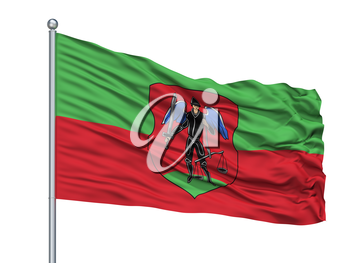 Navahradak City Flag On Flagpole, Country Belarus, Isolated On White Background, 3D Rendering