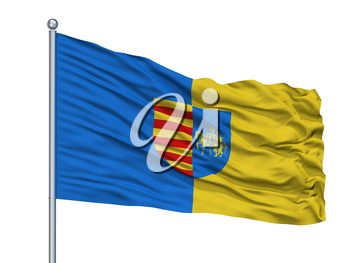 Genk City Flag On Flagpole, Country Belgium, Isolated On White Background, 3D Rendering