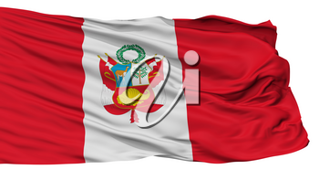 Peru War Flag, Isolated On White Background, 3D Rendering