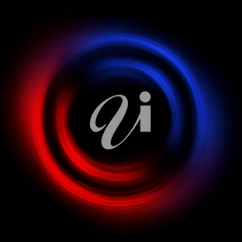 Royalty Free Clipart Image of Red Blue Circle on Black