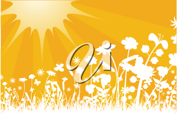 Royalty Free Clipart Image of a Meadow and Sunshine