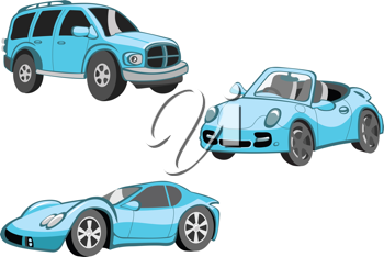 Royalty Free Clipart Image of Blue Cars