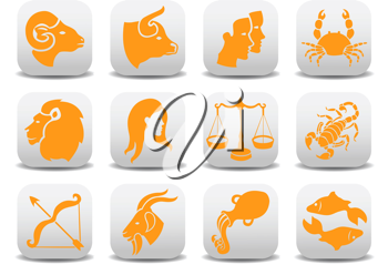 Royalty Free Clipart Image of Zodiac Signs